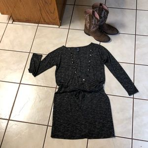 Gap Blk/Wht Draw-Tie Waist Long Sleeve Dress SzM